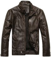 YesFashion Men's Stand Collar Moto PU Leather Jacket L