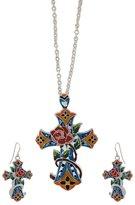 Things2Die4 Silver Tone Multicolor Enamel Cross Necklace Earrings Set