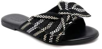 Pieces Black and White Flat Sandals - 37 - Black/White