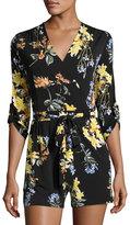 Neiman Marcus 3/4-Sleeve Floral-Print Romper, Black Pattern