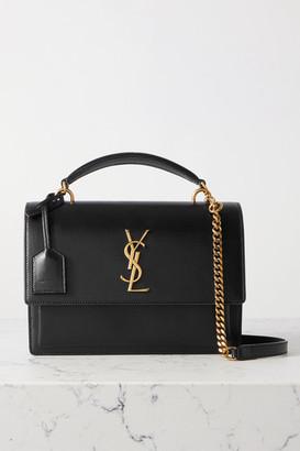 Saint Laurent Sunset Medium Leather Shoulder Bag - Black