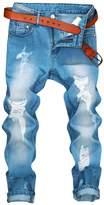 XARAZA Men's Distressed Moto Biker Jeans Straight Slim Fit Denim Pants