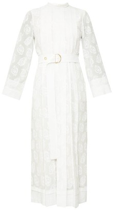Chloé Pleated Floral-print Silk-georgette Midi Dress - White