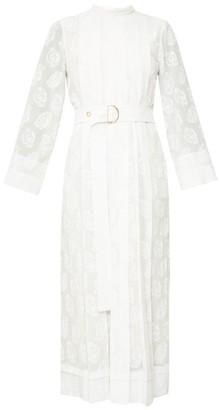 Chloé Pleated Floral-print Silk-georgette Midi Dress - White
