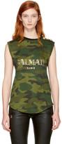 Balmain Black & Khaki Sleeveless Camo Logo T-Shirt