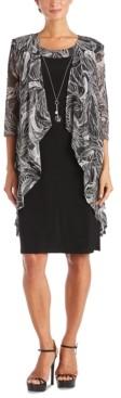 R & M Richards Petite Draped-Front Jacket & Necklace Dress