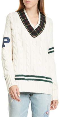 Polo Ralph Lauren Cable Knit Letterman Sweater