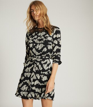 Reiss Miya - Lace Insert Printed Mini Dress in Black
