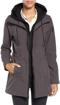 Vince Camuto Hooded Bib Inset Soft Shell Jacket