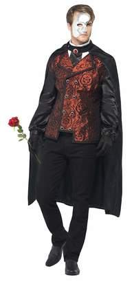 Smiffys Men's Dark Opera Masquerade Costume with Cape Mock Shirt Mask Gloves and Silk Rose