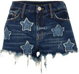 River Island Womens Mid blue wash star patch denim hot pants