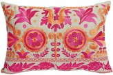 The Well Appointed House Designer Mulberry Floral Embroidery Pink and Orange Lumbar Pillow