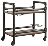 Inspire Q Emery Industrial Metal + Wood Bar Cart - Brown