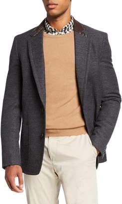 Kolor Men's Wool-Blend Sport Jacket w/ Stitched Contrast Collar