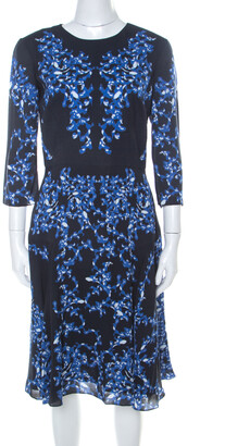 Erdem Navy Blue Lillie Printed Silk Crepe Dress M