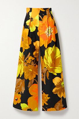 Christopher John Rogers Pleated Floral-print Cotton-twill Wide-leg Pants - Orange