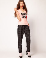 Sonia Rykiel Sonia by Silk Trousers in Polka Dot Print