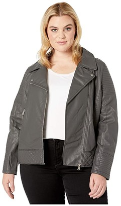 YMI Jeanswear Snobbish Plus Size Faux Leather Jersey Lined Moto Jacket (Charcoal) Women's Clothing