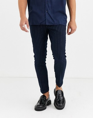 Moss Bros smart trousers in navy pinstripe
