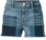 J Brand checked denim shorts - women - Cotton/Polyurethane - 24