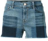 J Brand checked denim shorts