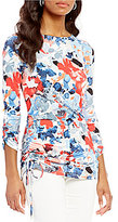 Preston & York Ameila Boat Neck 3/4 Sleeve Printed Top