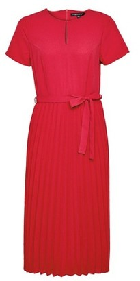 Dorothy Perkins Womens Pink Keyhole Pleated Skirt Midi Dress, Pink