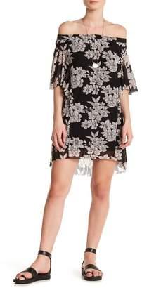 Moon River Floral Print Off-the-Shoulder Dress
