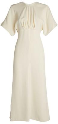 Victoria Beckham Cape-Sleeved Midi Dress