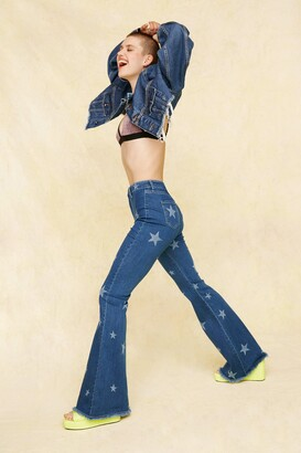 Nasty Gal Womens Written in the Stars High-Waisted Flare Jeans - Blue - 4, Blue