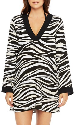 La Blanca Zebra Print V-Neck Cover-Up Tunic