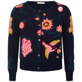 Navy Floral Jacquard Knitted Cardigan