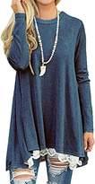 AmySister Women's Lace Patch Long Sleeve Flared Flutter Hem T-Shirt Tunic Top