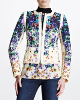 Roberto Cavalli Quilted Floral-Print Jacket, Blue/White