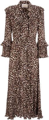 La DoubleJ Ruffled Printed Chiffon Maxi Dress Size: XS