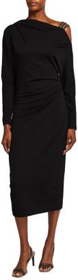 Brunello Cucinelli Off-Shoulder Wool Jersey Dress w/ Monili Straps