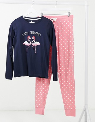 Threadbare Christmas pajama set in flamingo print navy and pink