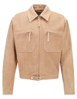 HUGO BOSS Slim Fit Blouson Jacket In Cashmere Touch Suede - Light Brown