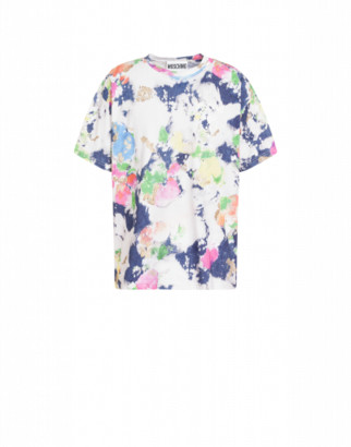 Moschino Painted And Bleached Flowers Jersey T-shirt Man Multicoloured Size L It
