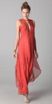 Print Plunge Maxi Dress