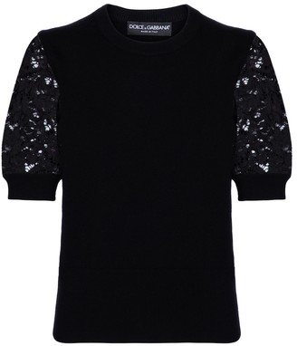 Dolce & Gabbana Lace, cashmere and cotton sweater