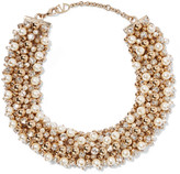 Valentino Gold-tone, faux pearl and crystal necklace