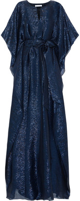 Oscar de la Renta Belted Silk-blend Lame Kaftan
