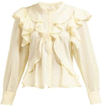 Etoile Isabel Marant Alea Ruffled Cotton Blouse - Womens - Light Yellow