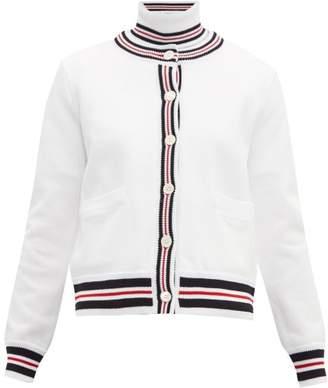 Thom Browne Tri Colour Striped Cotton Pique Cardigan - Womens - White