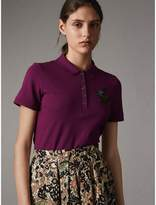 Burberry Beasts Motif Stretch Cotton Piqué Polo Shirt