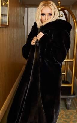 PrettyLittleThing Black Longline Faux Fur Hooded Coat