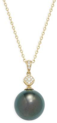Tara Pearls 14K Yellow Gold, 12-13MM Tahitian Pearl Diamond Pendant Necklace