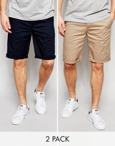 Asos 2 Pack Chino Shorts