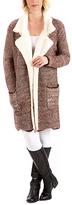 Paparazzi Brown & White Wool-Blend Open Cardigan